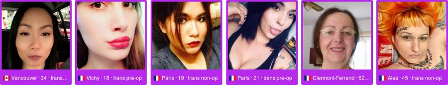 Ladyboys et trans actuellement en ligne sur le site français my transexuel date